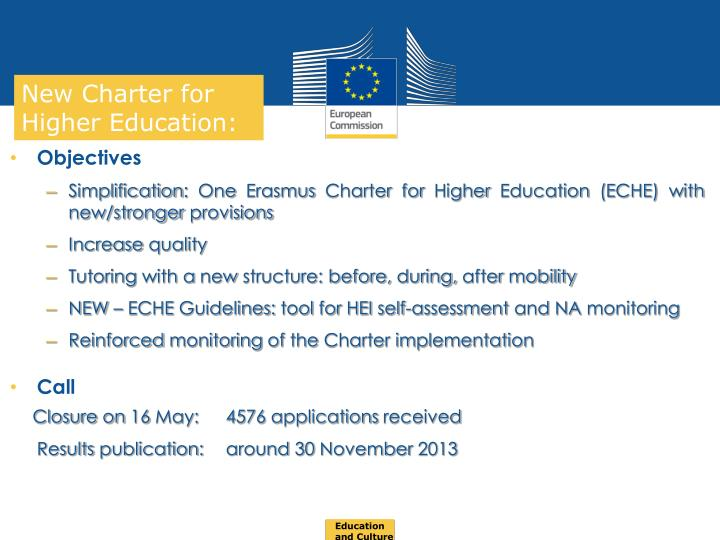 New Charter for Higher Education: