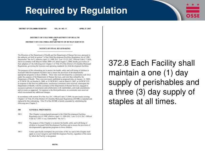 Required by Regulation