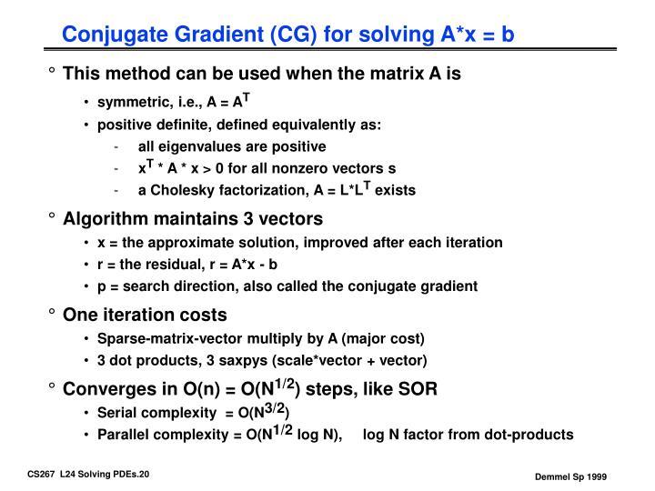 Conjugate Gradient (CG) for solving A*x = b