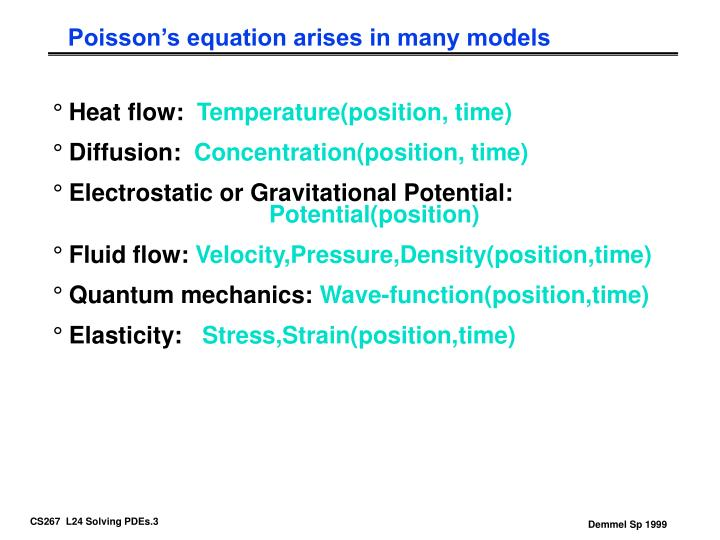 Poisson's equation arises in many models