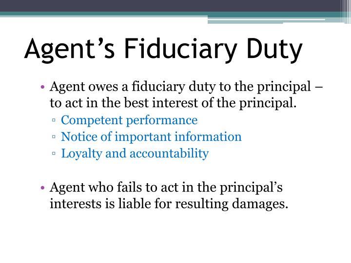 Agent's Fiduciary Duty