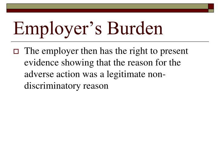 Employer's Burden
