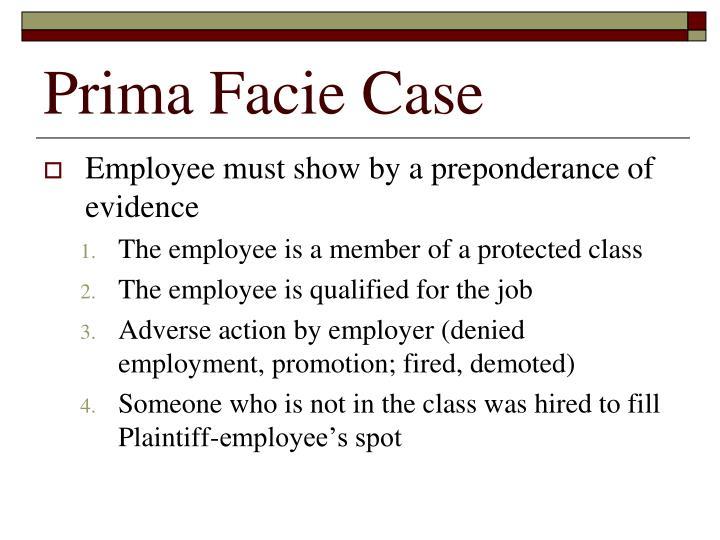Prima Facie Case