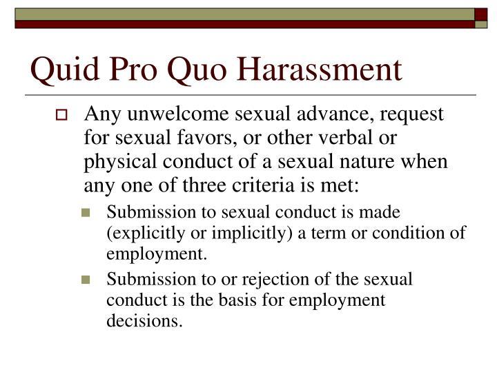 Quid Pro Quo Harassment
