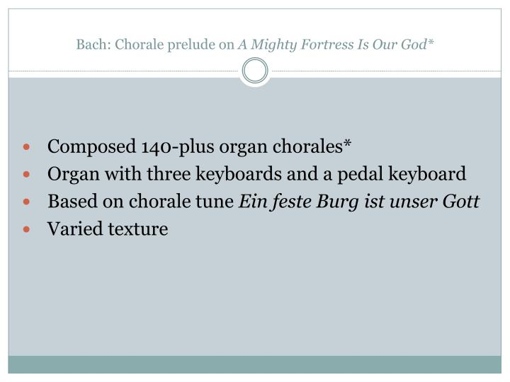 Bach: Chorale prelude on