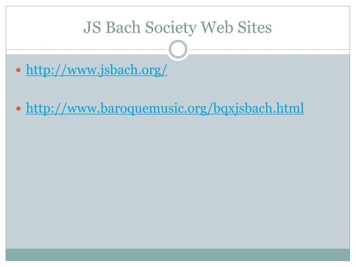 JS Bach Society Web Sites