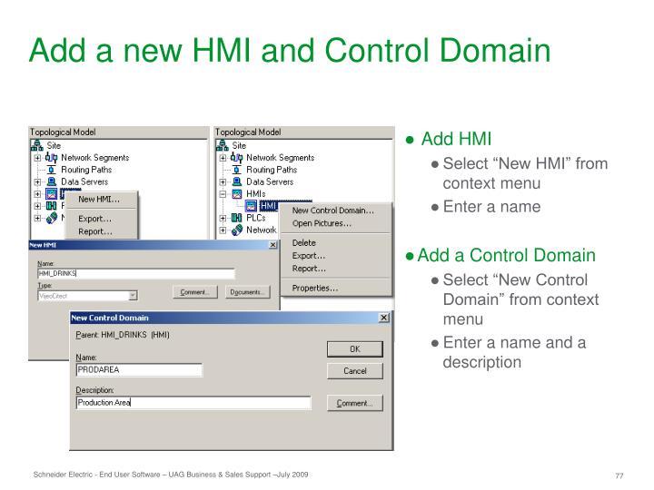 Add a new HMI and Control Domain