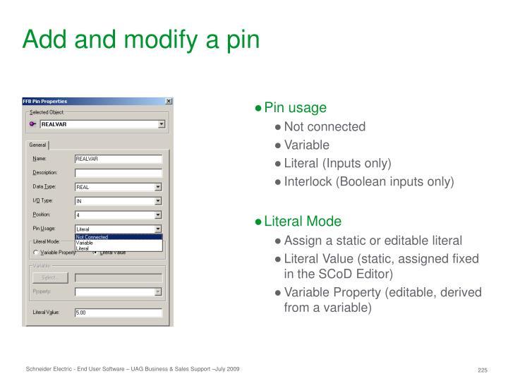 Add and modify a pin