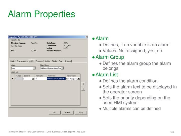 Alarm Properties