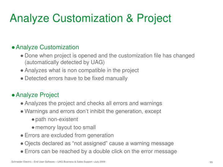 Analyze Customization & Project