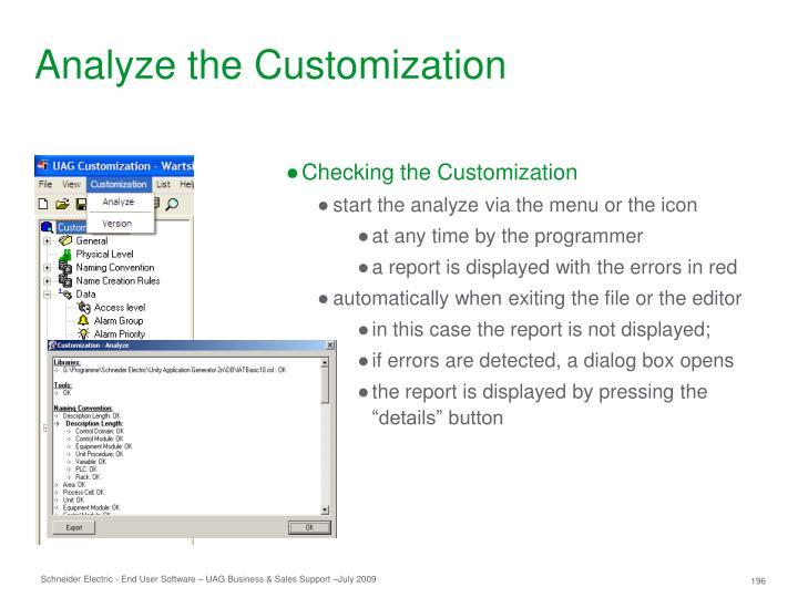 Analyze the Customization