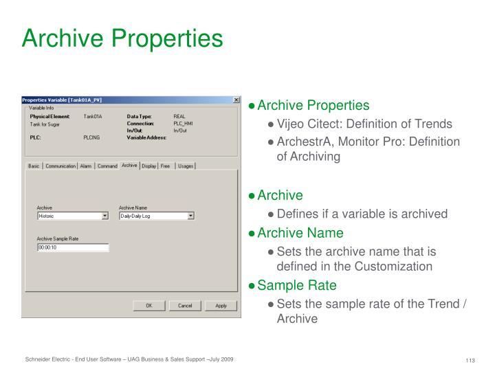 Archive Properties