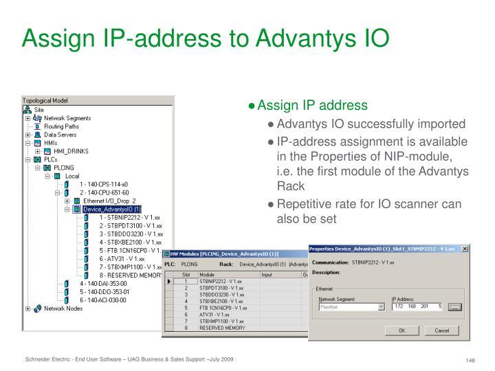 Assign IP-address to Advantys IO