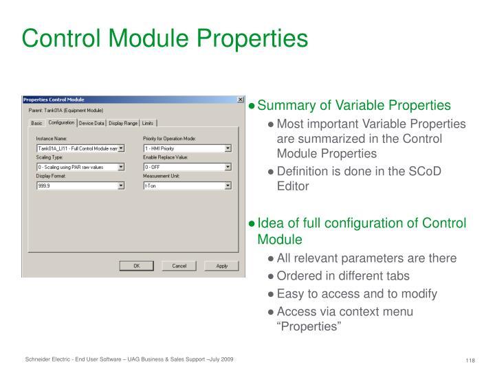 Control Module Properties