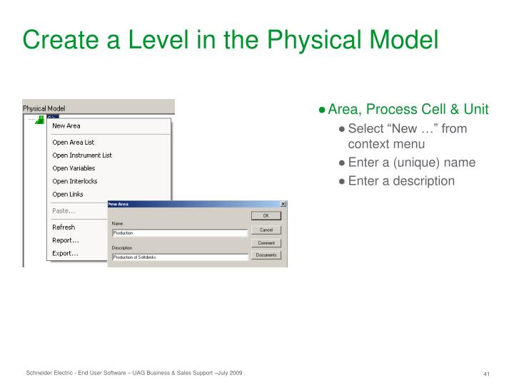 Create a Level in the Physical Model
