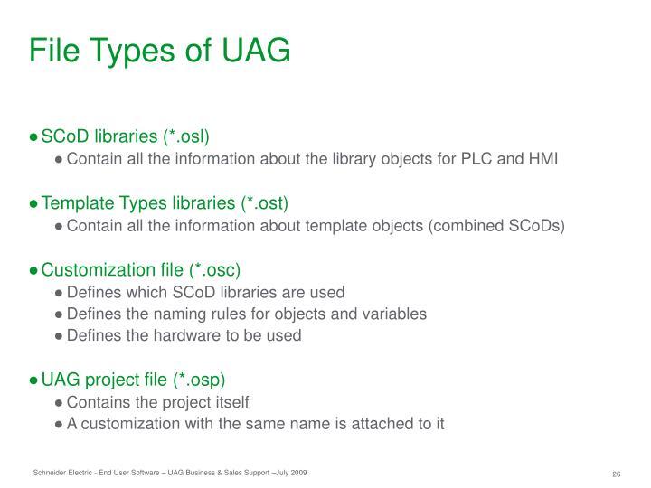 File Types of UAG