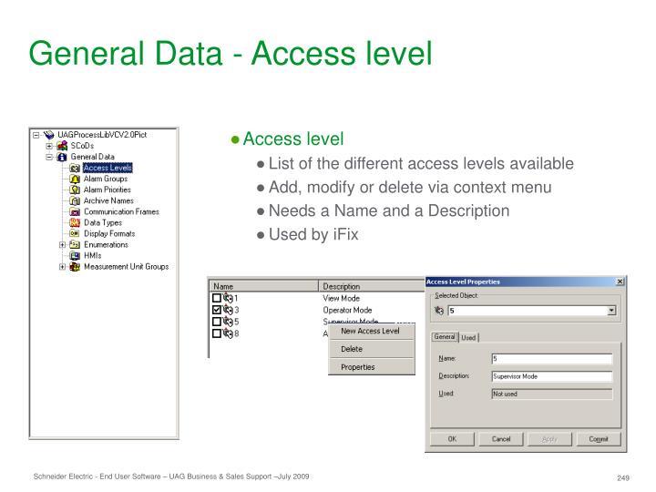 General Data - Access level