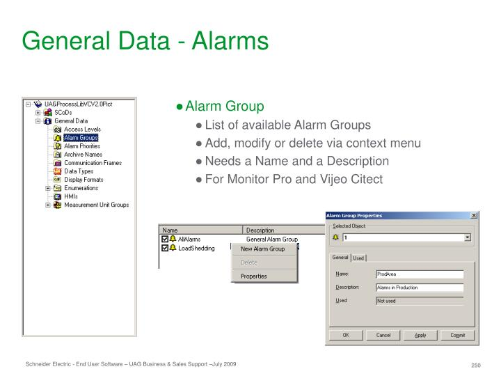 General Data - Alarms