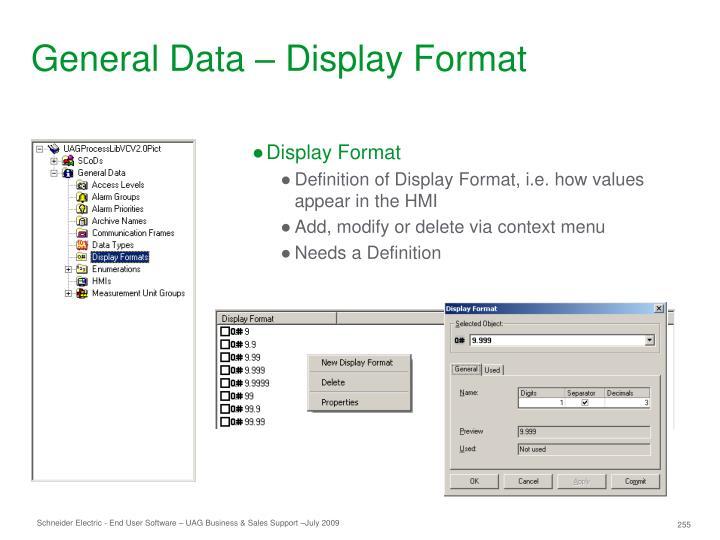 General Data – Display Format