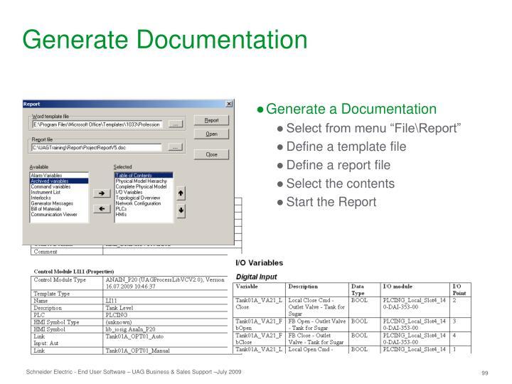 Generate Documentation