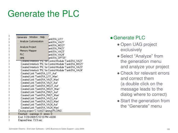Generate the PLC