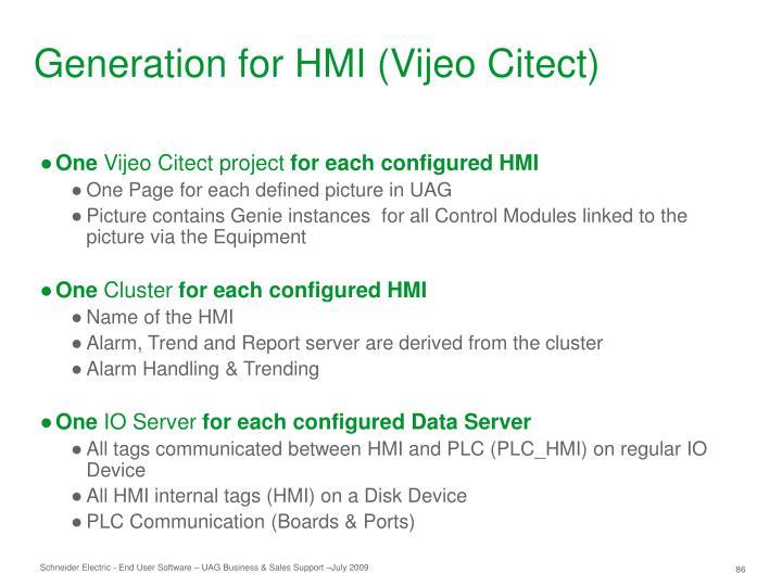 Generation for HMI (Vijeo Citect)