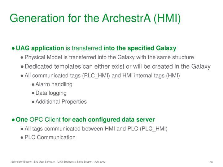 Generation for the ArchestrA (HMI)