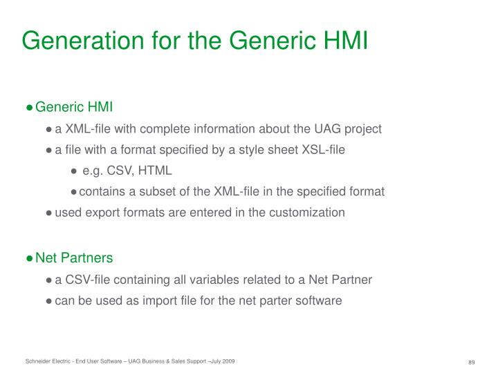 Generation for the Generic HMI