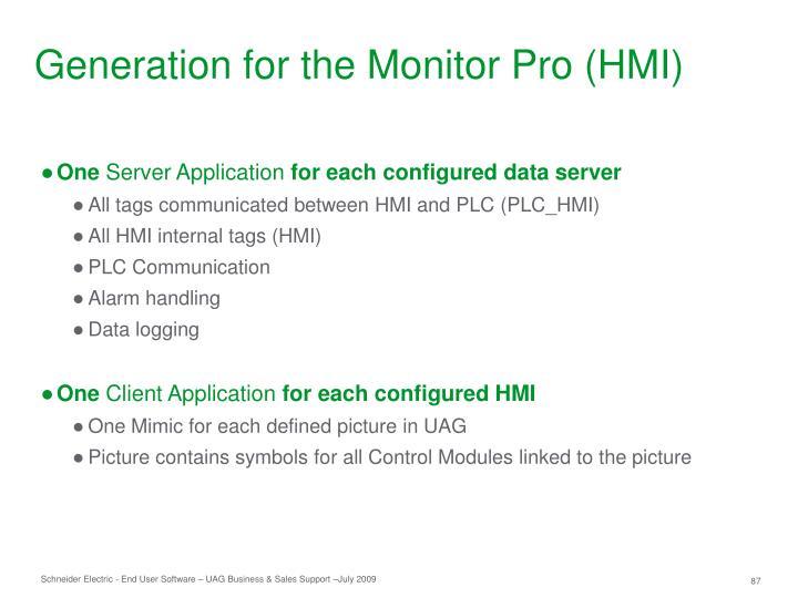 Generation for the Monitor Pro (HMI)