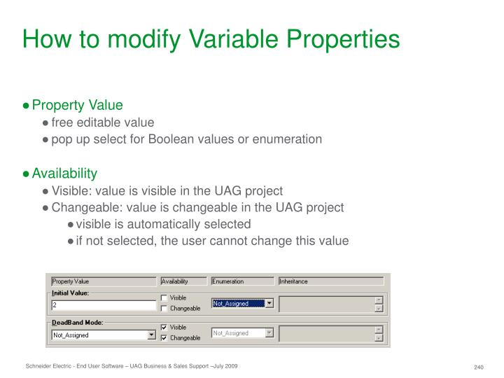 How to modify Variable Properties
