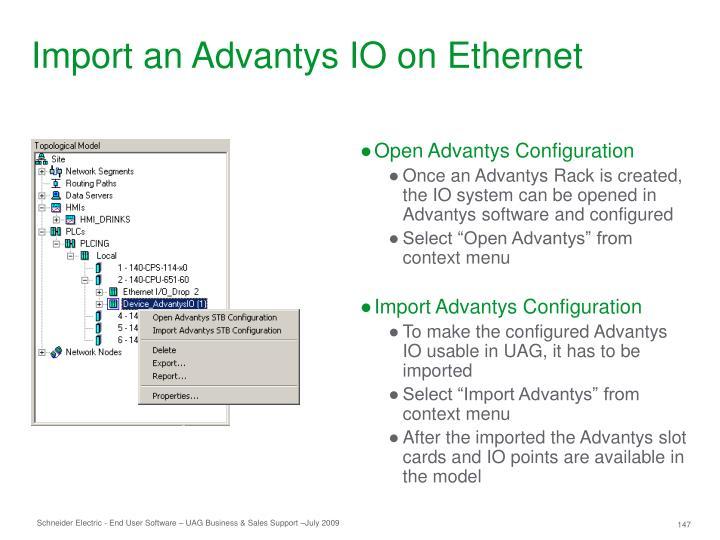 Import an Advantys IO on Ethernet