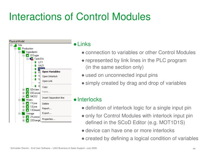 Interactions of Control Modules