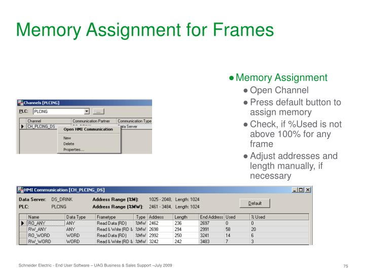 Memory Assignment for Frames