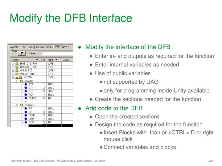 Modify the DFB Interface