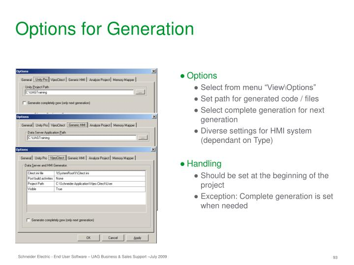 Options for Generation