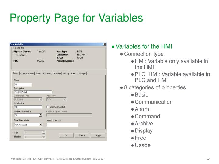 Property Page for Variables