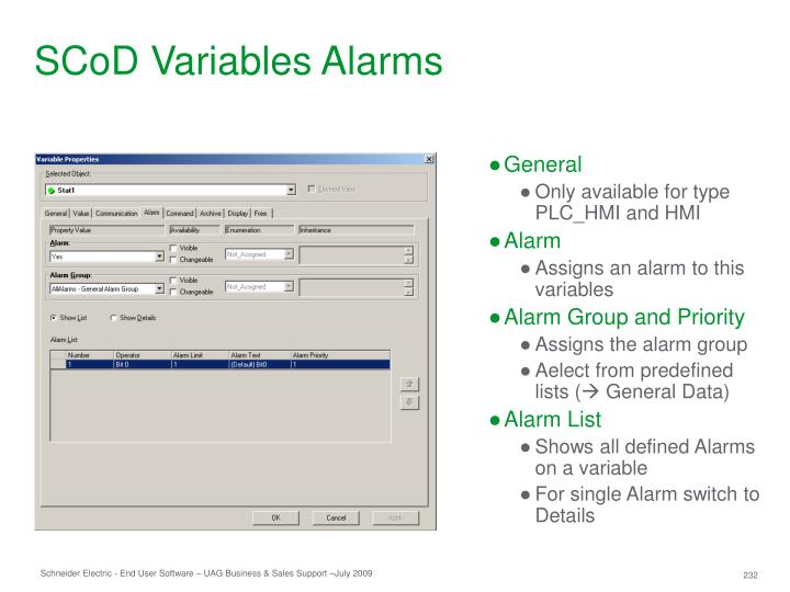 SCoD Variables Alarms