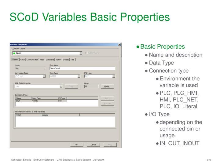 SCoD Variables Basic Properties