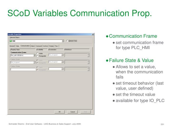 SCoD Variables Communication Prop.