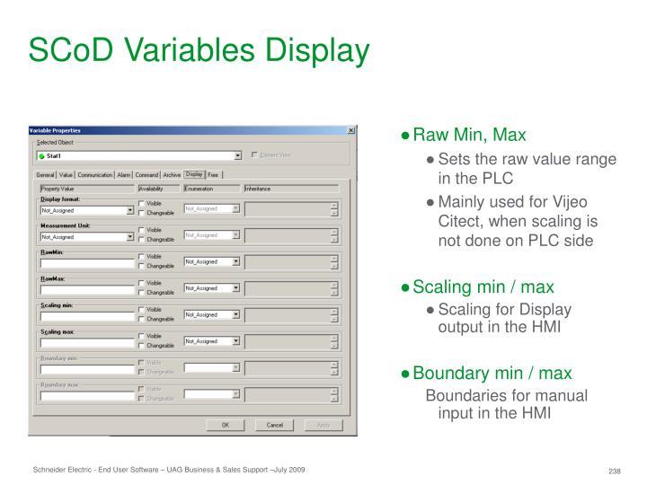 SCoD Variables Display
