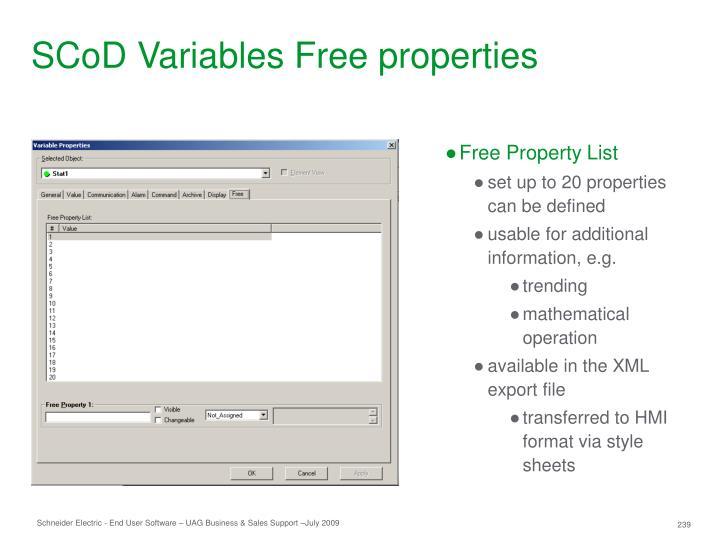 SCoD Variables Free properties