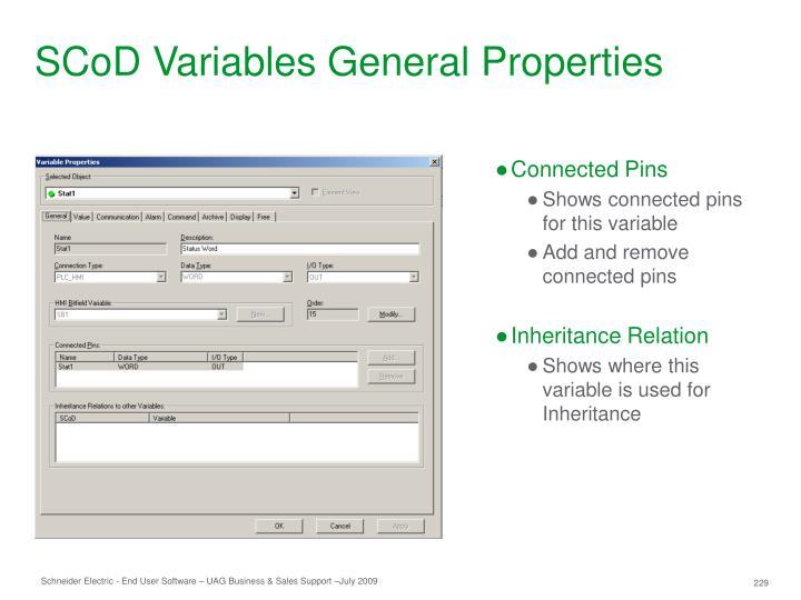 SCoD Variables General Properties