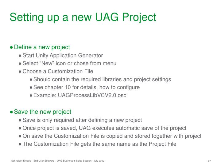 Setting up a new UAG Project