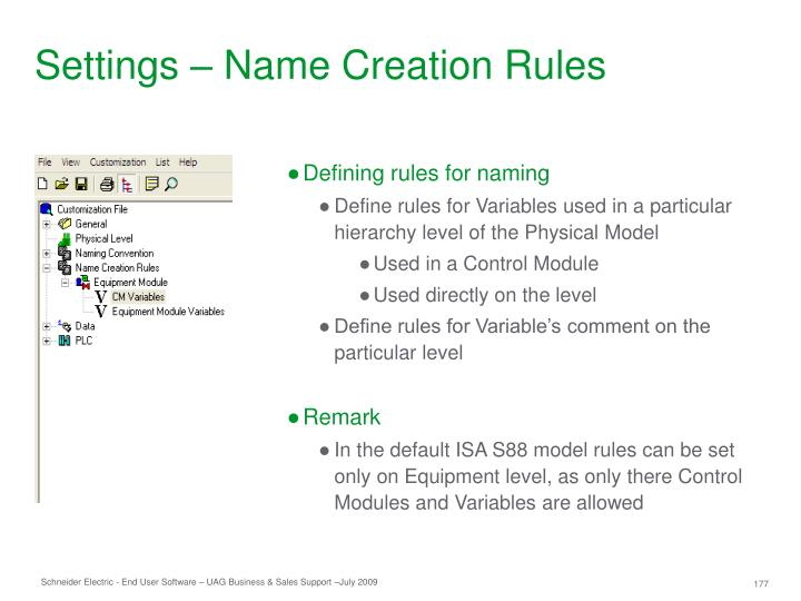 Settings – Name Creation Rules