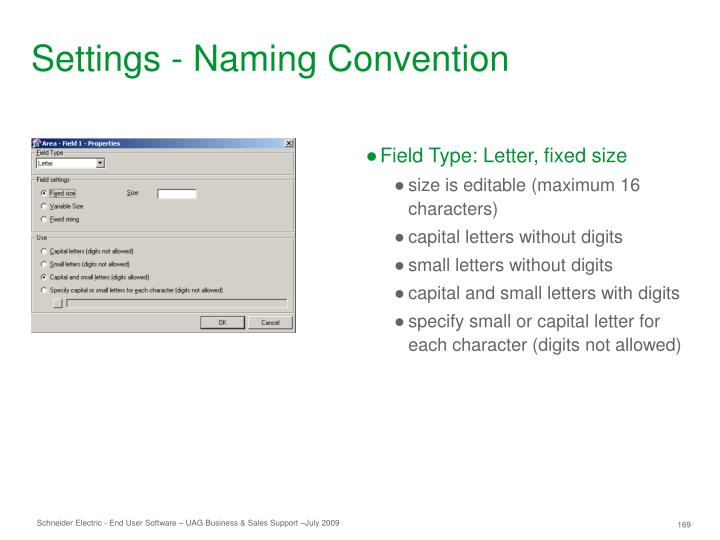 Settings - Naming Convention