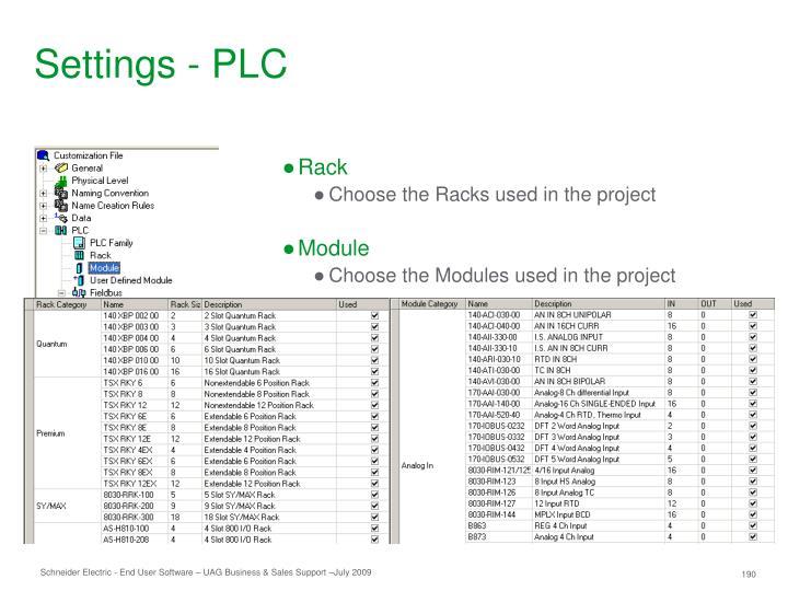 Settings - PLC