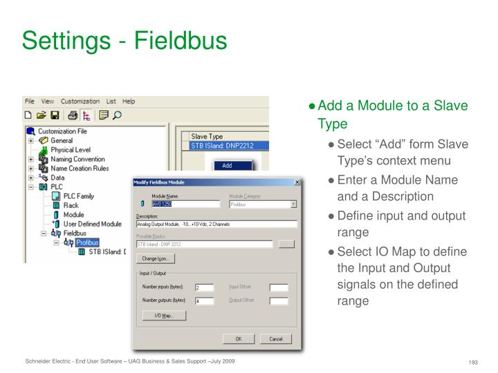 Settings - Fieldbus