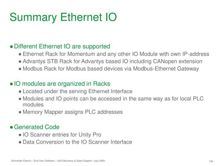Summary Ethernet IO