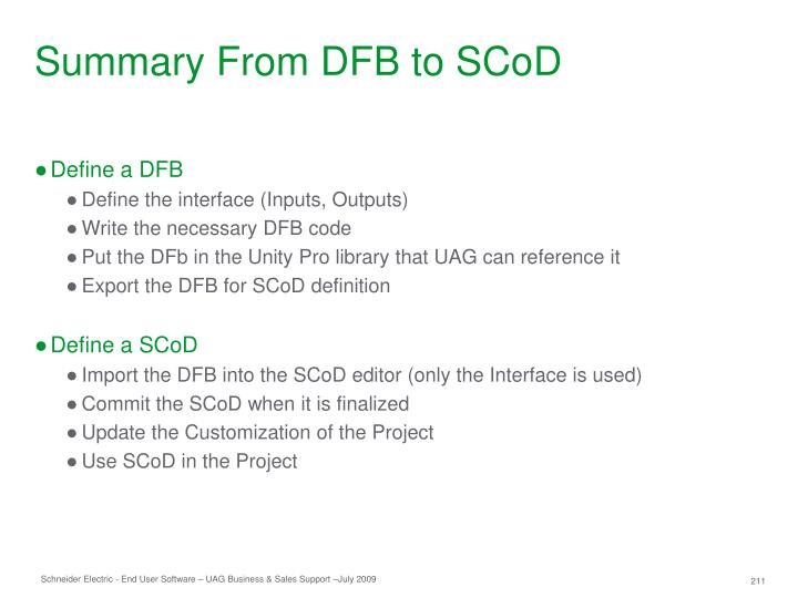 Summary From DFB to SCoD