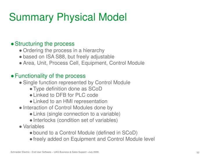 Summary Physical Model